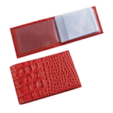 Визитница карманная BEFLER «Кайман» на 40 визиток, натуральная кожа, «крокодил», красная