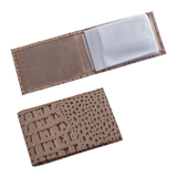 Визитница карманная BEFLER «Кайман», на 40 визитных карт, натуральная кожа, тиснение «крокодил», бежевая