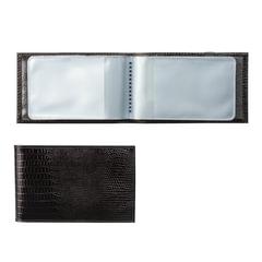 Визитница карманная BEFLER «Ящерица», на 40 визитных карт, натуральная кожа, тиснение, черная
