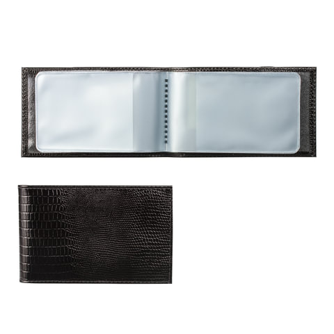 """Визитница карманная BEFLER """"Ящерица"""", на 40 визитных карт, натуральная кожа, тиснение, черная"""