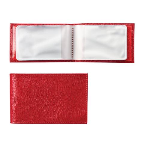 Визитница карманная BEFLER «Ящерица», на 40 визитных карт, натуральная кожа, тиснение, красная