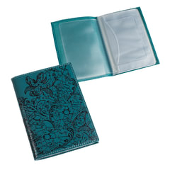 Бумажник водителя BEFLER «Гипюр», натуральная кожа, тиснение, 6 пластиковых карманов, бирюзовый