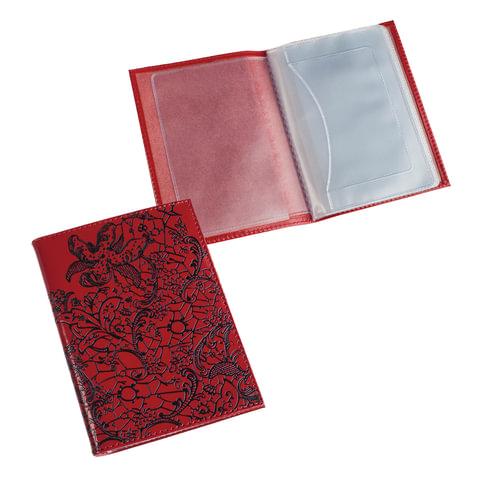 Бумажник водителя BEFLER «Гипюр», натуральная кожа, тиснение, 6 пластиковых карманов, красный