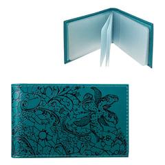 Визитница карманная BEFLER «Гипюр» на 40 визиток, натуральная кожа, тиснение, бирюзовая