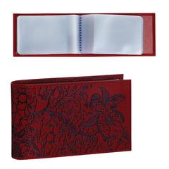 Визитница карманная BEFLER «Гипюр» на 40 визиток, натуральная кожа, тиснение, красная