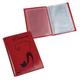 Бумажник водителя BEFLER «Изящная кошка», натуральная кожа, тиснение, 6 пластиковых карманов, красный