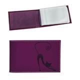 Визитница карманная BEFLER «Изящная кошка» на 40 визиток, натуральная кожа, тиснение, фиолетовая