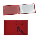 Визитница карманная BEFLER «Изящная кошка» на 40 визиток, натуральная кожа, тиснение, красная