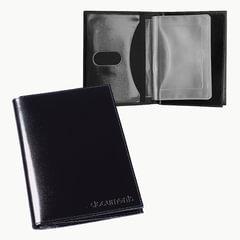 Бумажник водителя BEFLER «Classic», натуральная кожа, тиснение, 6 пластиковых карманов, черный