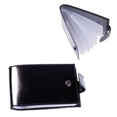 Визитница карманная BEFLER «Classic» на 40 визиток, натуральная кожа, кнопка, черная
