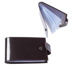 Визитница карманная BEFLER «Classic» на 40 визиток, натуральная кожа, кнопка, коричневая
