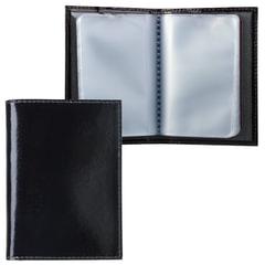 Визитница карманная BEFLER «Classic» на 40 визиток, натуральная кожа, черная