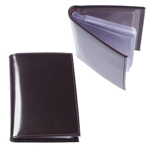 Визитница карманная BEFLER «Classic» на 40 визитных карт, натуральная кожа, коричневая