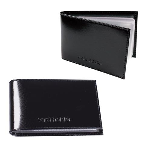 Визитница карманная BEFLER «Classic» на 40 визиток, натуральная кожа, тиснение «Card holder», черная