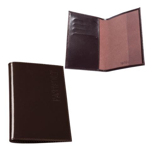 Обложка для паспорта BEFLER «Classic», натуральная кожа, тиснение «Passport», коричневая