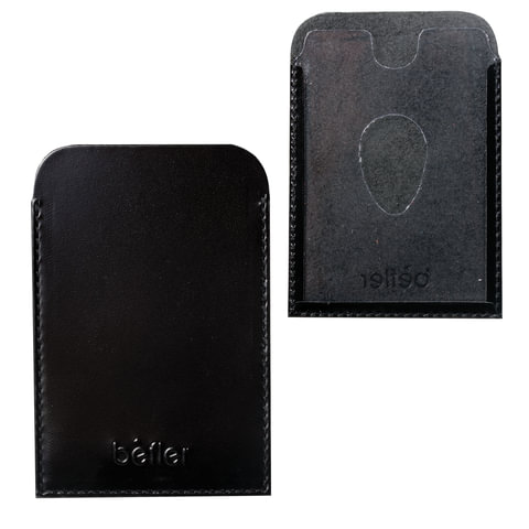 """Обложка-футляр BEFLER """"Classic"""", натуральная кожа, для проездных документов и карт, черная"""