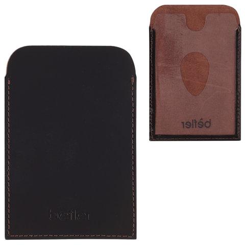 Обложка-футляр BEFLER «Classic», натуральная кожа, для проездных документов и карт, коричневая