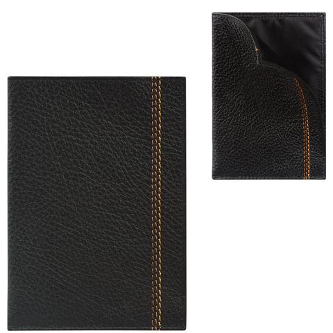 """Обложка-чехол для паспорта FABULA """"Brooklyn"""", натуральная кожа, контрастная отстрочка, черная"""