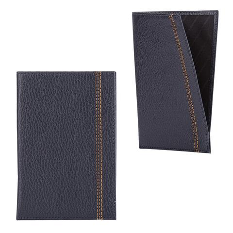 """Обложка-чехол для паспорта FABULA """"Brooklyn"""", натуральная кожа, контрастная отстрочка, синяя"""