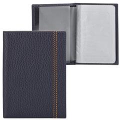 Бумажник водителя FABULA «Brooklyn», натуральная кожа, отстрочка, 6 пластиковых карманов, синий