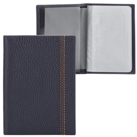Бумажник водителя FABULA «Brooklyn», натуральная кожа, контрастная отстрочка, 6 пластиковых карманов, синий