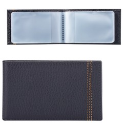 Визитница карманная FABULA «Brooklyn» на 40 визитных карт, натуральная кожа, контрастная отстрочка, синяя