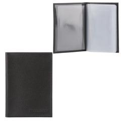 Бумажник водителя FABULA «Largo», натуральная кожа, тиснение, 6 пластиковых карманов, черный