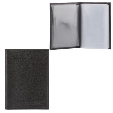 """Бумажник водителя FABULA """"Largo"""", натуральная кожа, тиснение, 6 пластиковых карманов, черный"""