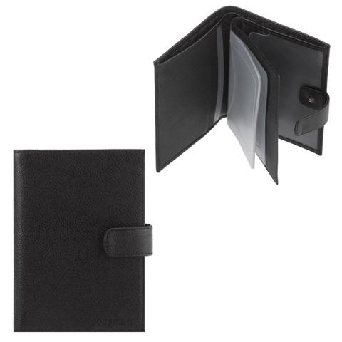 Бумажник водителя FABULA «Largo», натуральная кожа, тиснение «Documents», кнопка, черный