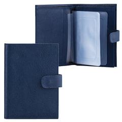 Бумажник водителя FABULA «Largo», натуральная кожа, тиснение, 6 пластиковых карманов, кнопка, синий