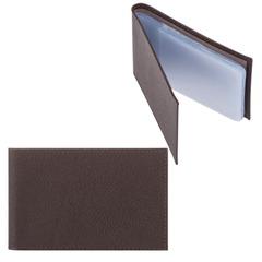 Визитница карманная FABULA «Largo» на 40 визиток, натуральная кожа, коричневый