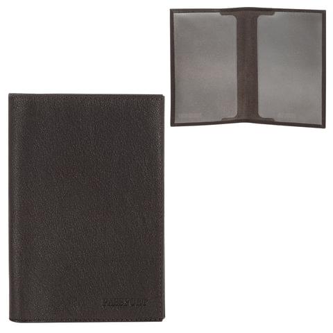 """Обложка для паспорта FABULA """"Estet"""", натуральная кожа, тиснение """"Passport"""", темно-коричневая"""