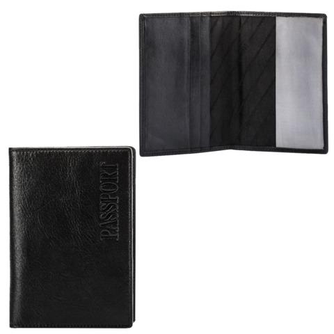 Обложка для паспорта FABULA «Estet», натуральная кожа, тиснение «Passport», черная