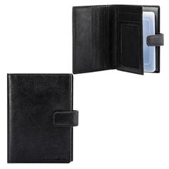 Бумажник водителя FABULA «Estet», натуральная кожа, тиснение, 6 пластиковых карманов, кнопка, черный
