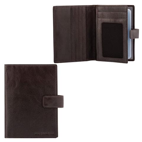 """Бумажник водителя FABULA """"Estet"""", натуральная кожа, тиснение, 6 пластиковых карманов, кнопка, темно-коричневый"""