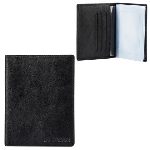 Бумажник водителя FABULA «Estet», натуральная кожа, тиснение «Documents», черный