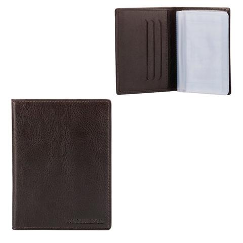 """Бумажник водителя FABULA """"Estet"""", натуральная кожа, тиснение, темно-коричневый"""