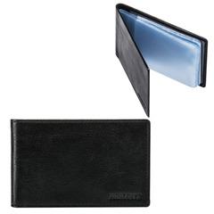 Визитница карманная FABULA «Estet» на 40 визитных карт, натуральная кожа, черная