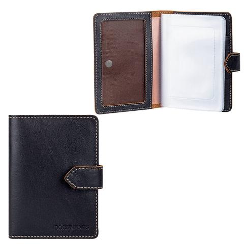 Бумажник водителя FABULA «Kansas», натуральная кожа, контрастная отстрочка, тиснение «Documents», кнопка, черный