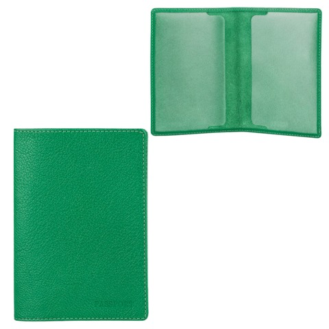 Обложка для паспорта FABULA «Every day», натуральная кожа, тиснение «Passport», зеленая