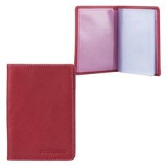 Бумажник водителя FABULA «Every day», натуральная кожа, тиснение, 6 пластиковых карманов, ягодный
