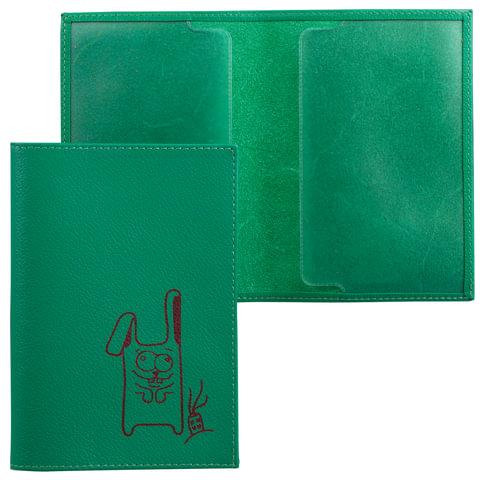 Обложка для паспорта FABULA «Friends», натуральная кожа, тиснение, лайм