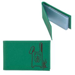 Визитница карманная FABULA «Friends» на 40 визитных карт, натуральная кожа, тиснение, лайм