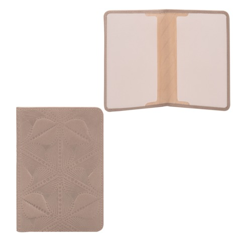 Обложка для паспорта FABULA «Abstraction», натуральная кожа, декоративное тиснение, серая