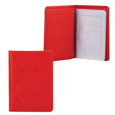 Бумажник водителя FABULA «Abstraction», натуральная кожа, декоративное тиснение, 6 пластиковых карманов, красный