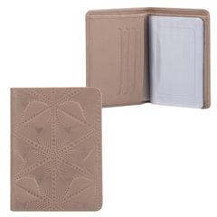 Бумажник водителя FABULA «Abstraction», натуральная кожа, тиснение, 6 пластиковых карманов, серый