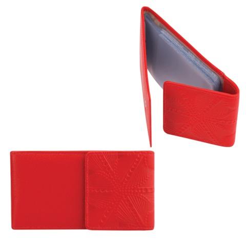 Визитница карманная FABULA «Abstraction» на 40 визитных карт, натуральная кожа, декоративное тиснение, кнопка, красная