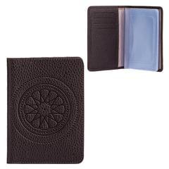 Бумажник водителя FABULA «Talisman», натуральная кожа, тиснение, 6 пластиковых карманов, шоколадный