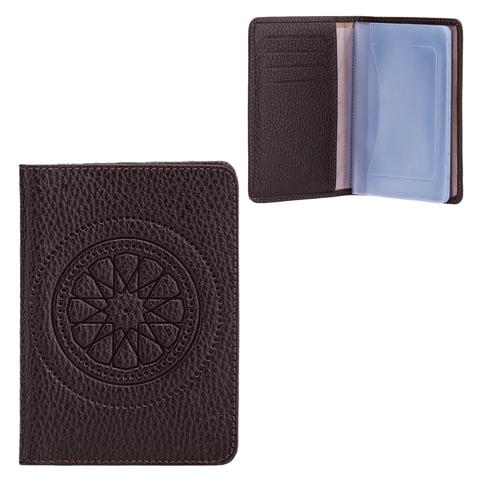 Бумажник водителя FABULA «Talisman», натуральная кожа, геометрическое тиснение, 6 пластиковых карманов, шоколадный