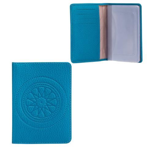 """Бумажник водителя FABULA """"Talisman"""", натуральная кожа, геометрическое тиснение, 6 пластиковых карманов, голубой"""